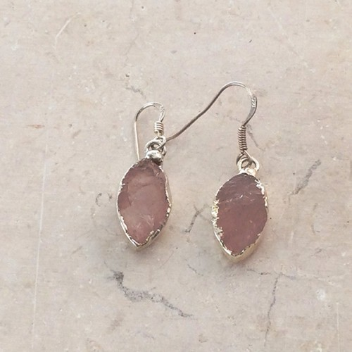 Small Marquise Rose Quartz Earrings in Silver