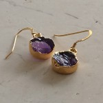 Small Round Amethyst Earrings