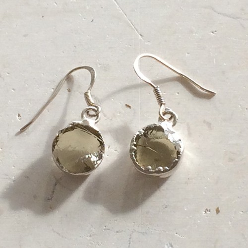 Small Round Lemon Quartz Earrings in Silver