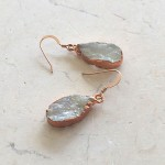 Small Tear Rainbow Moonstone Earrings in Rose Gold