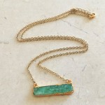 Large Chrysophrase  Bar Necklace in Gold