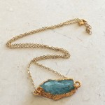 Large Unique Aquamarine Necklace in Gold