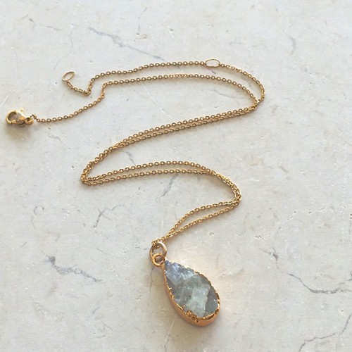 Small Tear Rainbow Moonstone Pendant
