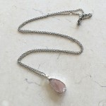 Small Tear Rose Quartz Pendant