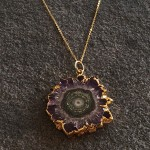 Medium  Amethyst Stalactite Pendant in Gold