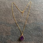 Medium Amethyst Point Pendant in Gold