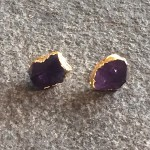 Amethyst Point Stud Earrings in Gold
