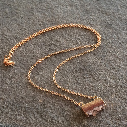 Small Amethyst Slice Necklace in Rose Gold