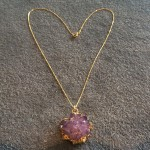 Medium Amethyst Rose Pendant in Gold