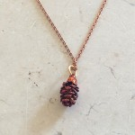 Autumn rainbow alder pinecone necklace