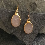 Small Gold Oval Druzy Earring