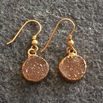 Small Gold Round Druzy Earring