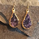 Small Gold Tear Druzy Earring