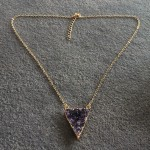 Large Gold Triangle Druzy Necklace