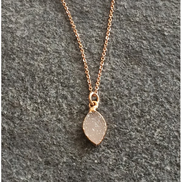 790caa33f Small Rose Gold Marquise Druzy Pendant