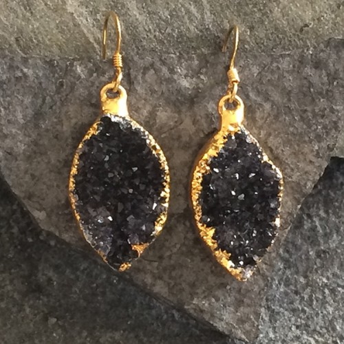 Small Gold Marquise Druzy Earring