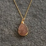 Large Tear Gold Druzy Pendant