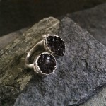Black Double Druzy Ring in Silver