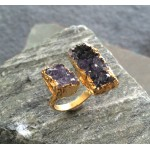 Amethyst Double Druzy Ring in Gold