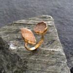 Mocha Double Druzy Ring in Gold