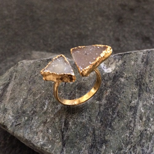 Neutral Tone Double Druzy Ring in Gold