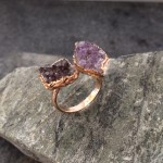 Amethyst and Black Double Druzy Ring in Rose Gold