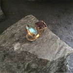 Black Druzy and Labrodorite Double Ring in Gold