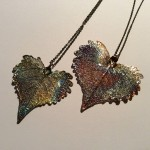 Dark Rainbow Cottonwood Leaf Pendant
