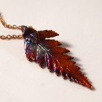 Autumn Rainbow Fern Leaf Pendant
