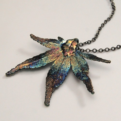Dark Rainbow Japanese Maple Pendant