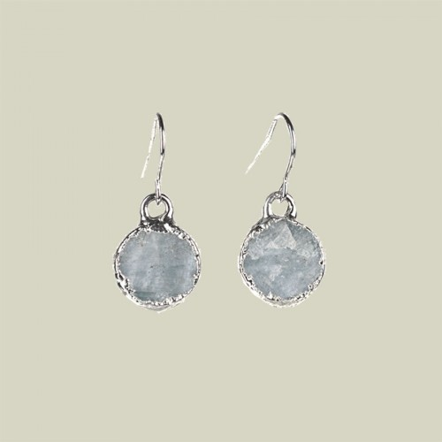 Aquamarine round earrings in silver