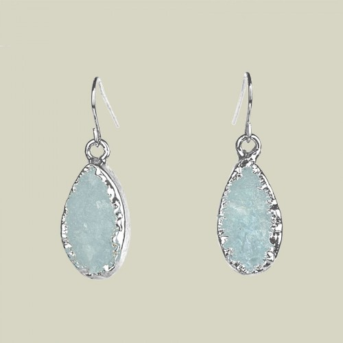 Aquamarine teardrop earrings in silver