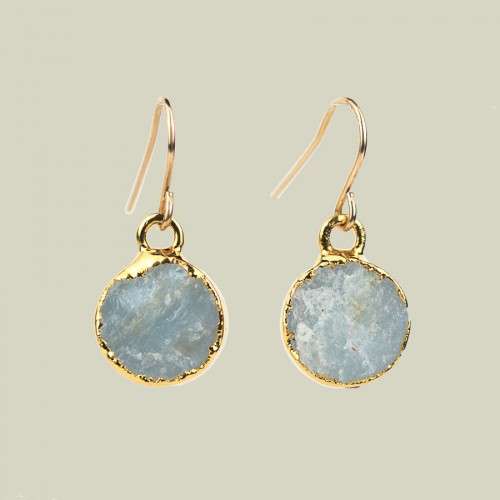Aquamarine round earrings in gold