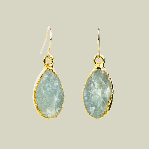 Aquamarine teardrop earrings in gold