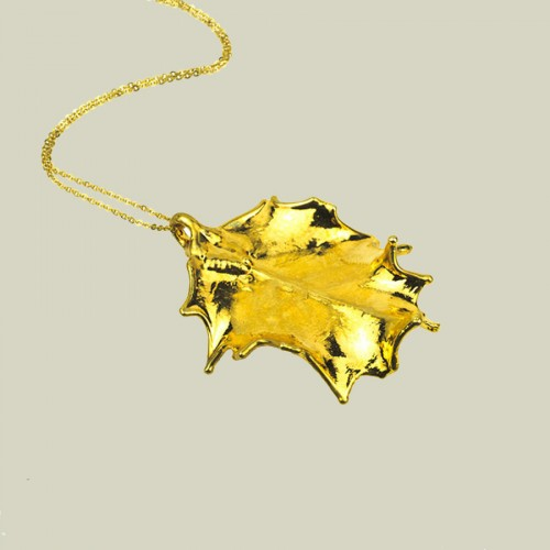 Gold Holly Pendant