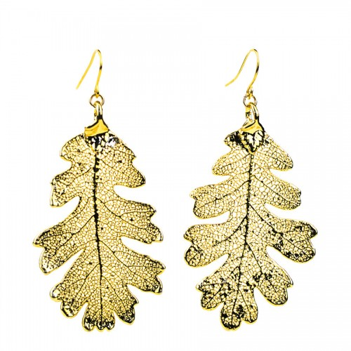 Gold Oak Earrings
