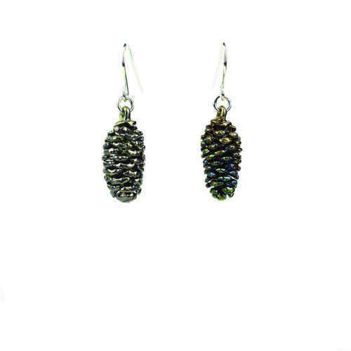 Dark rainbow alder pinecone earrings